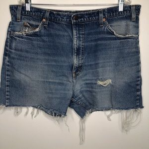 Levi's 517 Orange Tab Distressed Denim Shorts
